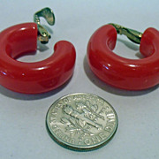 Vintage 1940's Cherry Red Fat Bakelite Earrings