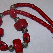 Red Coral Sterling Silver Necklace