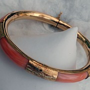 Vintage Angel Skin Pink Coral bracelet bangle 14k gold