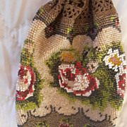 Victorian  Beaded Flowers Roses Handbag