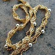 Gold Fancy 18 kt Gold  and 925 Silver Necklace.