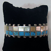 Vintage Pawn Native American Navajo Indian Inlaid Turquoise MOP Bracelet