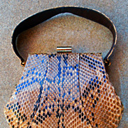 Vintage 1950's Snakeskin Leather Handbag Purse Revits Designer
