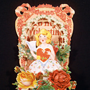 Vintage Fold Out Lovers Valentine With Roses Wreaths Flowers 1920's
