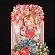 Vintage Fold Out 1920's Valentine With Roses Germany