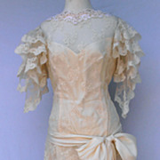Vintage Wedding Silk Lace Romantic  Art Deco Style Dress