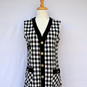 Vintage 1960's Wool Houndstooth Sweater Dress