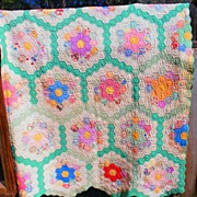 Antique Vintage Hand Sewn Stitched Early Flower Garden Quilt