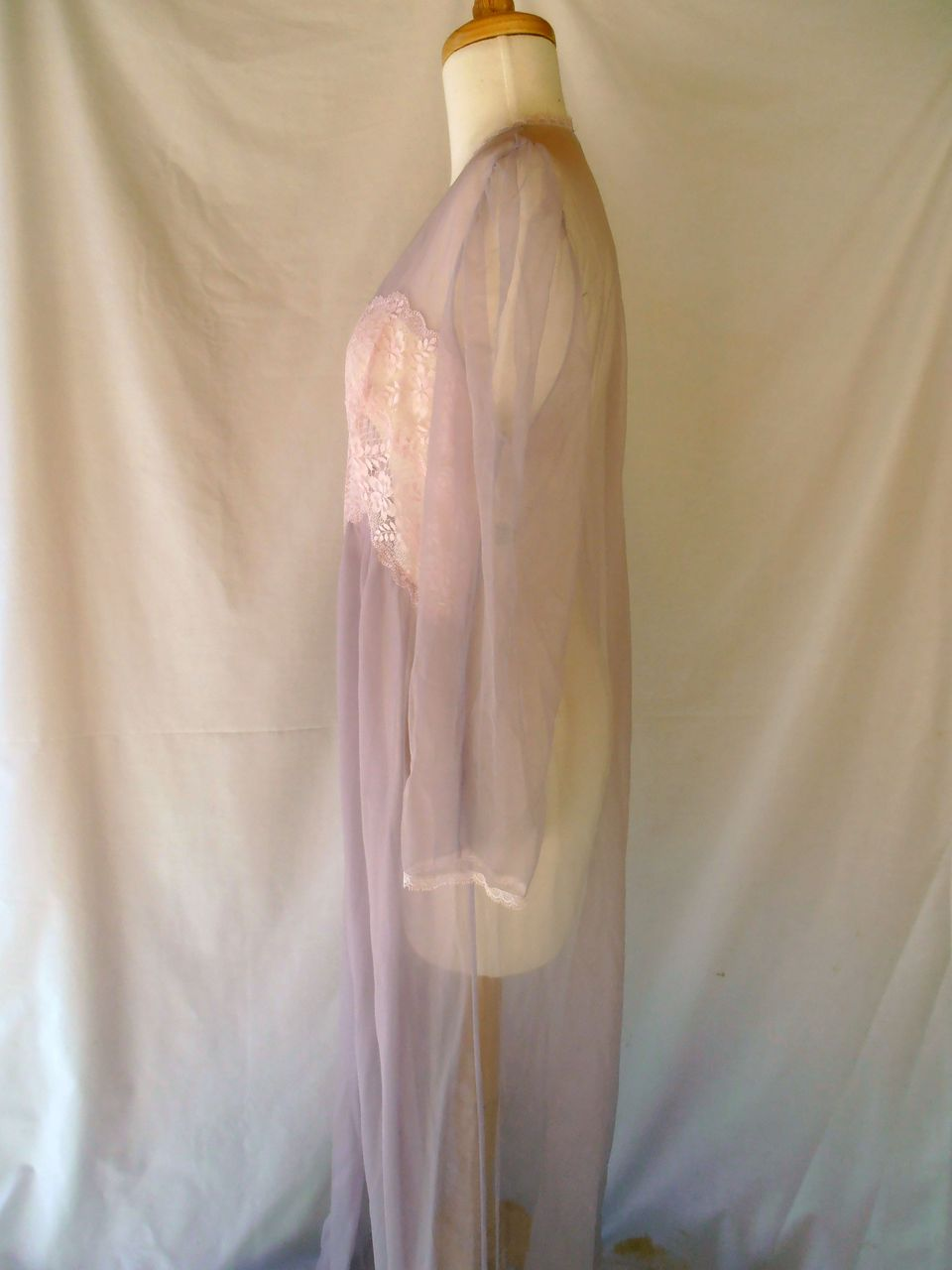 Lace-Sheer-Bras Vintage Large Sheer Lingerie Robe Nightgown Lace
