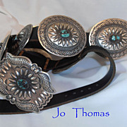 Vintage Pawn Massive Tommy Chee Concho Belt Sterling Silver and Turquoise Native American Indi