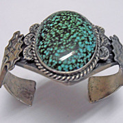 Vintage Pawn Navajo American Indian Spider Web Turquoise Silver Bracelet Bangle Large