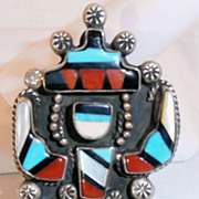 Vintage Pawn Zuni Inlaid Native American  Ring 1950's Figural
