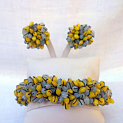 Vintage Mid Century Modern Beaded Clamper Bracelet and Earrings