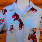 Vintage Rockabilly Cowgirl Western Rodeo Bronco Riding Horse Shirt