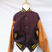 Vintage 1965 Letterman's Jacket Leather Size 42 Rockabilly High School Jock