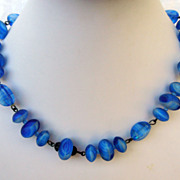 Vintage 1930's Cobalt Blue Milk Glass Necklace