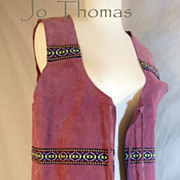 SALE Vintage Boho Hippie Psychedelic Purple Leather Vest Sioux Indian Made