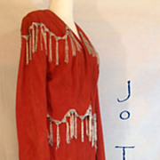 Vintage Red Suede Leather Silver Beaded Trashy Jacket Skirt Bustier Oh Mama!