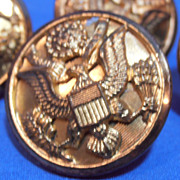 SOLD Vintage Waterbury WW2 Eagle Large Brass Buttons