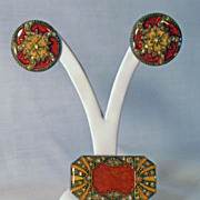 Vintage Designer Pierre Bex French Enamel Art Deco Earrings and Pin Brooch