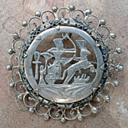Vintage Art Deco Egyptian Revival Pin Brooch Pendant Silver Plate