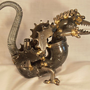 Vintage Folk Art Dragon Dinosaur Made From  Plumbing and Machine Parts