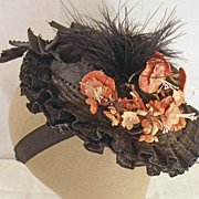 Vintage Early Black Hat Ruffles, Ribbons, Flowers, and Feathers