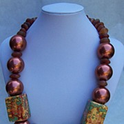 Copper, carnelian and handmade beads necklace, big and bold, ancient and modern