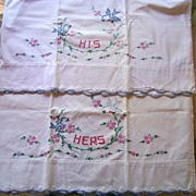 Delightful vintage Hand Embroidered Pillowcases Flowers and Blue Birds