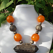 Vintage Ethnic Tribal  Butterscotch Bakelite Nickle Silver Necklace.