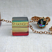 Vintage Upscale Costume Dangle Vendome Earrings Rainbow Colors