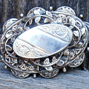 Vintage Large Handmade Heirloom Quality Silver Victorian Earrings.