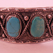 Vintage Pawn Handmade Navajo Native American Turquoise Stones  Sterling Silver Bangle Bracelet