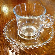 Imperial Glass Candlewick cup and saucer sets Beautiful beaded edge!