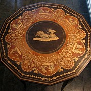 SOLD Ornate Mid Century Italian Inlaid Side table