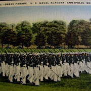 SALE U.S. Naval Academy Dress Parade Linen Postcard ca. 1939