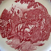 "Homer Laughlin Red Transferware Plate ""General Washington Taking Command of the Army 1775"