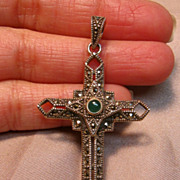 Dainty Art Deco Design Cross Pendant in Sterling Silver