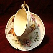 Antique Zsolnay Butterfly Tea Cup & Saucer Circa 1868