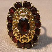 18KT Yellow Gold Filigree Garnet Ring
