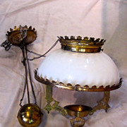 1800's Antique Victorian Brass Hanging Oil Lamp with Milk Glass