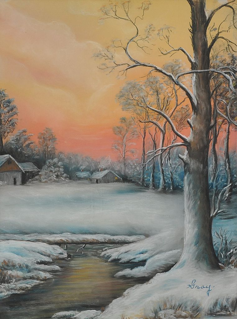 Charming Vintage Winter Landscape Signed Gray c. 1940