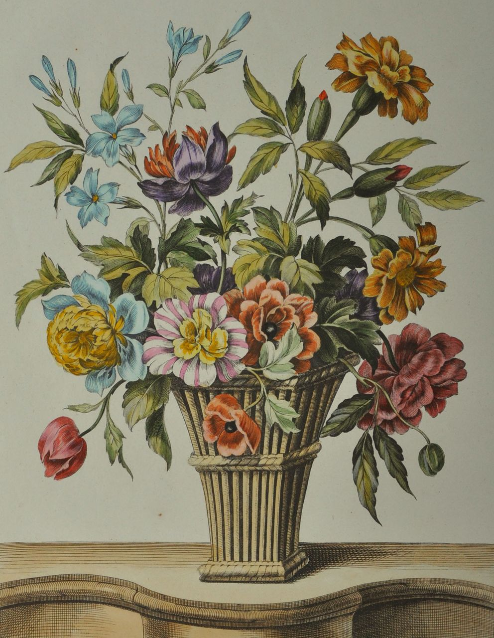 Fine 18th Century Hand Colored Etching by French Artist Louis Tessier (c.1719 - 1781).