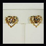 14K Yellow Gold Heart within Heart Earrings, Beverly Hills Gold circa 1980's