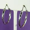 14K White Gold Etched Hoop Earrings