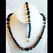 NOS Black Onyx & Tiger's Eye Bead with Necklace & Bracelet
