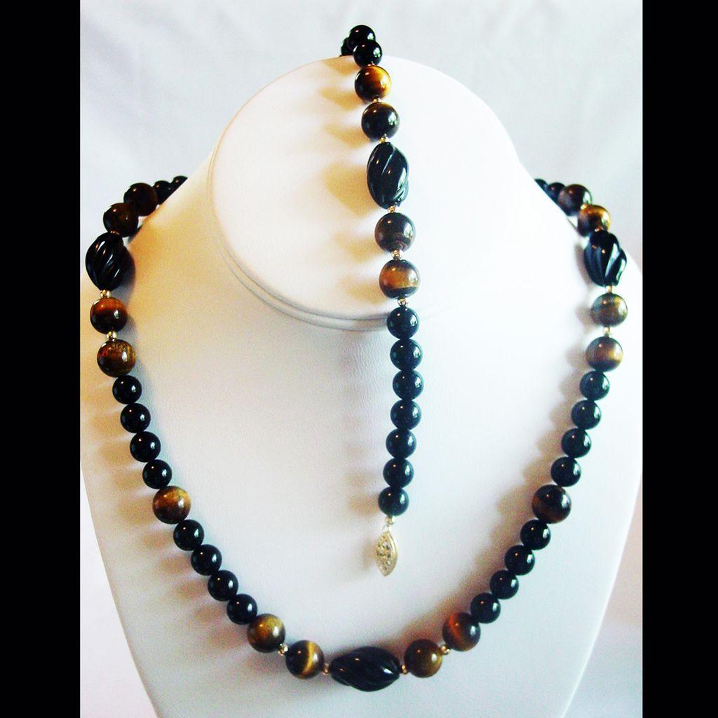 black onyx tiger s eye bead with necklace bracelet