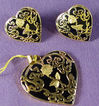 14K Yellow Gold Black Onyx Heart Pendant & Earrings Set NOS