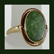 Antique Jade Ring in 10K YG, Size 5 1/4