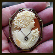 14K Flora Cameo with Diamond - Pin and Pendant